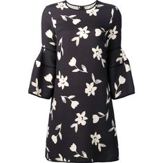 Carolina Herrera bell sleeve mini dress ($3,715) ❤ liked on Polyvore featuring dresses, black, scoop-neck dresses, floral mini dress, short-sleeve shift dresses, floral print dress and shift dress