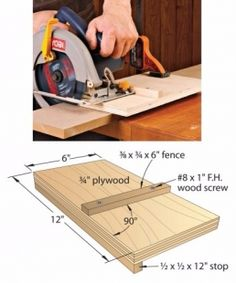 Circular Saw Cutoff Jig - Homemade circular saw cutoff jig intended to facilitate the process of crosscutting 6