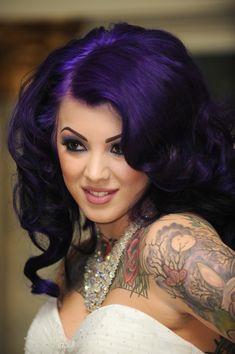 Purple hair and still elegant for a wedding  A creepy and elegant gothic wedding | @offbeatbride