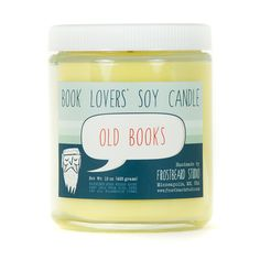 Old Books soy candle--Part of our Book Lovers' Series, this candle is a completely original scent inspired by the smell of old books! Ideal for bibliophiles of all sorts. The scent is a sweet and floral earthy smell with a hint of must. (Not mildewy, rotten old books!)