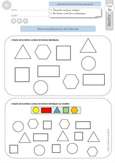 GS: EXERCICES MATHEMATIQUES Reconnaitre des formes géométriques en maternelle Grande Section Math Activities For Kids, Math For Kids, Diy For Kids, Printable Preschool Worksheets, Kindergarten Worksheets, Learning Centers, Kids Learning, Maternelle Grande Section, Math Skills