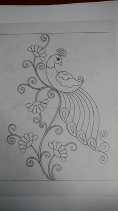 Advanced Embroidery, Basic Embroidery Stitches, Embroidery Works, Peacock Embroidery Designs, Hand Embroidery Design Patterns, Peacock Drawing, Butterfly Drawing, Glass Painting Designs, Fabric Paint Designs