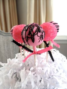 Edible Bridal Shower Pink and Black Cake Pops Frost The Cake. $22.00, via Etsy.