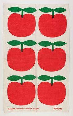 Tea Towel - John Rodriquez, Red Apples, post via Museum Victoria Textiles, Textile Patterns, Textile Design, Fabric Design, Pattern Design, Pattern Bank, Motif Vintage, Vintage Patterns, Vintage Tea
