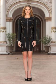 Maximise your wardrobe's sophistication of day to evening in this black accessorized two pieces bandage suit. A feminine stretch bandage suit for a sexy,sensual, figure-hugging look.