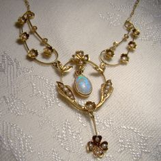 Antique Edwardian 14K Opal Seed Pearls by FionaKennyAntiques
