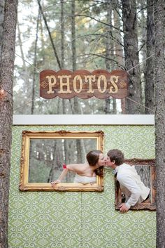 such a cute idea. create your own photobooth for the wedding