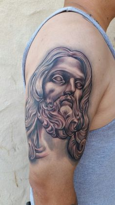 Black and Grey Religeous Half Sleeve Bernini Realistic Black And Grey Tattoos, Half Sleeves, Portrait, Black And Gray Tattoos, Portrait Illustration, Arm Tattoos, Portraits, Head Shots