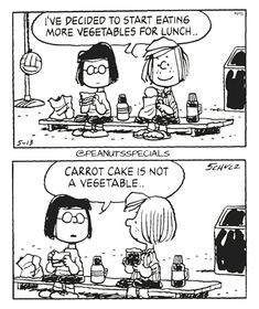 First Appearance: May 13th, 1988 #peanutsspecials #ps #pnts #schulz #peppermintpatty #marcie #decided #start #eating #vegetables #lunch #carrotcake www.peanutsspecials.com