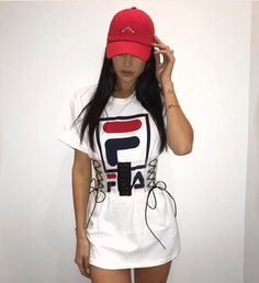 pinterest:@angelthebear Dope Outfits, Trendy Outfits, Fashion Outfits, Womens Fashion, Fashion Trends, Big Shirt Outfits, Fashion Lookbook, Fashion Shoes, Fila Outfit