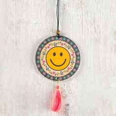 Tassel Air Freshener Smiley Folk Face - You'll love this set of two rectangular Strawberry-scented car air fresheners with elastic wood-bead hanger and orange tassel.