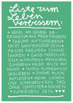 """Postkarte """"Liste zum Leben verbessern"""""""
