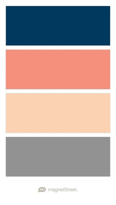 Navy, Coral, Peach, and Classic Gray Wedding Color Palette - custom color palette created at MagnetStreet.com