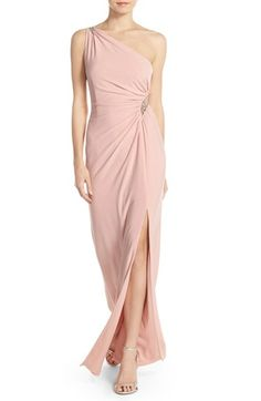Adrianna Papell Embellished One-Shoulder Jersey Gown available at #Nordstrom