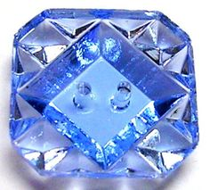 Awesome Gem Like 1930's Art Deco Cut Faceted Blue Depression Glass Button | eBay