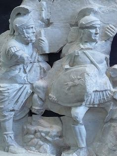 Fragments of the frieze from the Basilica Aemilia in  the Forum Romanum depicting two soldiers in crested helmets 1st century BCE-1st century CE (2)