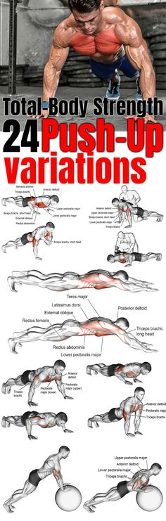 24 Essential Push-Up Variations for Total-Body Strength And Intensive Gains As one of the most common chest exercises for men and women, push-ups have become synonymous with working out. Sixpack Workout, Push Up Workout, Workout Challenge, Fitness Gym, Mens Fitness, Fitness Tips, Fitness Quotes, Health Fitness, Health Quotes