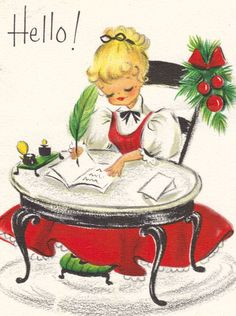 Vintage Christmas Card Hello