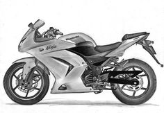 Motorcycle, done by graphite pencils