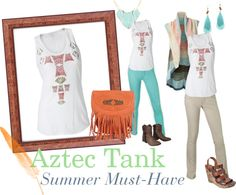 """""""Aztec Tank, Summer Must-Have - CAbi Clothing"""" by am-prettyinink on Polyvore"""