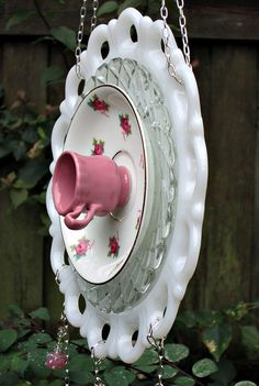 Sun CatcherDangle Pink Roses Garden Whimsy by GardenWhimsiesByMary, $45.00