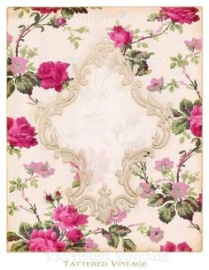 Red Roses Instant Download no.237 Victorian Flocked Frame Antique Wallpaper Collage Sheet Tattered Vintage 237. $4.00, via Etsy.