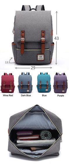 Which color do you like? Vintage Canvas Travel Backpack Leisure Backpack&Schoolbag #backpack #bag #leisure #travel #bag #college #school