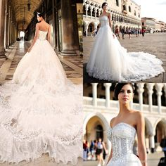 Wholesale Ball Gown Wedding Dresses - Buy Sparking Bling Bling Sequins Crystals Sweetheart Ball Gown Wedding Dresses New Stylish Cathedral Train Lace Organza Exquisite Bridal Gowns, $279.68 | DHgate