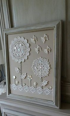 Items similar to old shabby style crochet doilies table on Ets . - Items similar to old shabby style crochet doilies table on Etsy - Framed Doilies, Lace Doilies, Crochet Doilies, Crochet Lace, Button Art, Button Crafts, Crochet Crafts, Sewing Crafts, Crochet Wall Art
