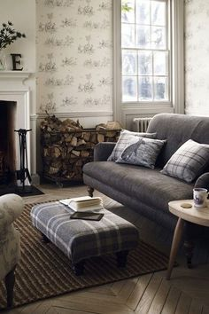 Old Country House Decorating Ideas ~ Modern Country - Living Room Design Ideas & Pictures - Decorating My Living Room, Home And Living, Living Room Decor, Living Spaces, Country Living Rooms, Country Living Room Wallpaper, Small Living, Beige And Grey Living Room, Woodland Living Room