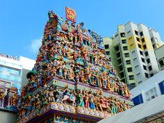 Průčelí hinduistického chrámu, Singapur, 2017
