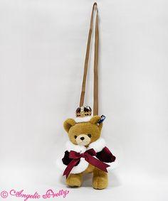 Lolita Fashion // bag handbag purse accessories // Angelic Pretty Crown Bearぬいぐるみポーチ // royal crown teddy bear cape bows