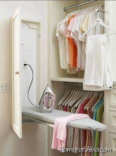 Built-In Ironing Board cabinet in laundry room or master closet Master Bedroom Closet, Budget Bedroom, Closet Rooms, Bathroom Closet, Small Master Closet, Master Closet Design, Bedroom Closets, Linen Closets, Bedroom Wardrobe