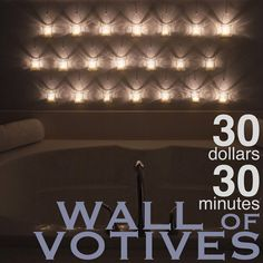 Wall of Hanging Votives - maybe not 30, but I love the idea