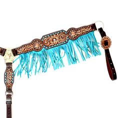 Turquoise Fringed Floral Carved Breast Collar