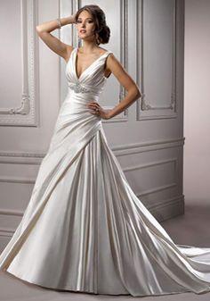 Empire Classic Beading V-neck Sleeveless Satin Wedding Dress picture 1