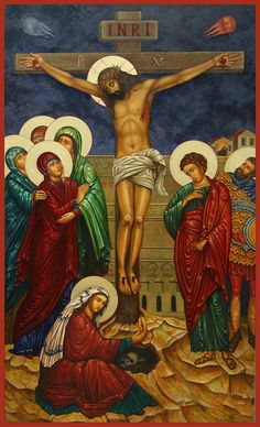 "[Crucifixion icon, by Ann Chapin.] ""Look, look on Jesus, poor and crucified, look on this Holy One, who for _your love_ has died, and remember as you contemplate the sacred Mysteries, this Jesus whom you gaze upon loves you most tenderly."" ~ Saint Clare of Assisi"