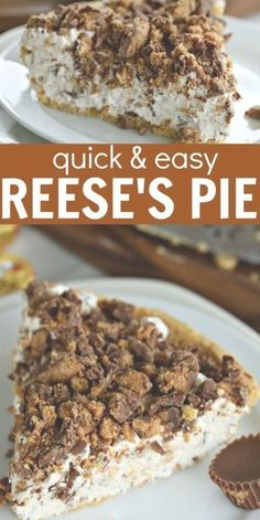 This Reeses Pie Recipe is the perfect no bake dessert. Reese's peanut butter pie recipe is delicious. Try Reese's peanut butter cup pie for an easy dessert. Reeses Peanut Butter Pie Recipe, Reeses Pie, Easy Pie Recipes, Easy No Bake Desserts, Pie Dessert, Dessert Recipes, Pecan Pie Filling, Cinnamon Roll Cookies, Soft Chocolate Chip Cookies