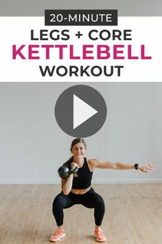Legs + Core Kettlebell Workout with adidas Burn out your lower body and core with this KETTLEBELL WORKOUT! This at home strength training workout is designed to build lean muscle and get you sweating in just 20 minutes, using a kettlebell! Kettlebell Training, Kettlebell Ab Workout, Kettlebell Workouts For Women, Kettlebell Routines, Squat Workout, Workout Challenge, Body Workouts, Leg Workout At Home, At Home Workouts