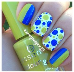 Love the Green and Blue dots on white manicure. #nailart #nails