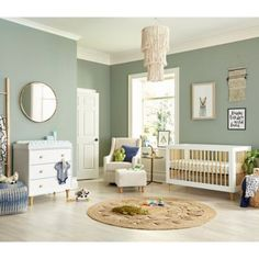 Gender neutral baby nursery Earthy and eclectic, this modern nursery has a soothing, gender-neutral vibe with pops of indigo to match the desert sky. Baby Room Boy, Baby Bedroom, Baby Room Decor, Nursery Room, Girls Bedroom, Nursery Decor, Sky Nursery, Boy Nursery Bedding, Wood Nursery