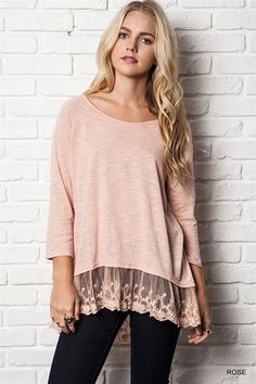 "Long Sleeve Tee With Decorative Lace Detail Front Length of Top from the Center is 20"" Back Length of Top from the Center is 27""   EST NOV 21"