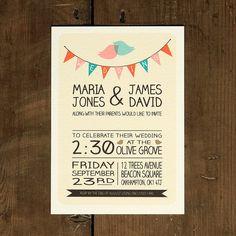 whimsical lovebirds wedding invitation by feel good wedding invitations | notonthehighstreet.com