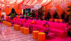 Electric Lounge - LOVE the colors! Indian Wedding Ceremony, Big Fat Indian Wedding, Desi Wedding, Wedding Stage, Luxury Wedding, Wedding Reception, Diy Diwali Decorations, Indian Wedding Decorations, Flower Decorations