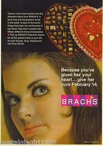1969 AD Brach's Valentine's Day Candy Box Beautiful Woman ORIGINAL ADVERTISING