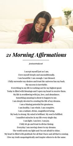 21 Morning Affirmations | Click through to download your FREE magic morning affirmations printable for self-love, success, and manifesting. Plus, read the blog post where I share my five favorite morning rituals that set me up for success.