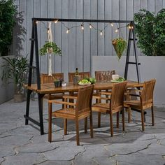 Noble House Raven Outdoor Acacia Wood Dining Table with Iron Plant Hanger, Dark Brown Finish and White Unique Dining Tables, Outdoor Dining, Outdoor Decor, Outdoor Swings, Outdoor Ideas, Best Outdoor Furniture, Simple Furniture, Outdoor Dinner Parties, Small Outdoor Spaces