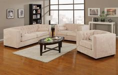 Alexis Almond Wood Fabric Living Room Set