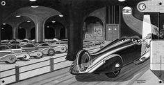 The Car Of The Future 1954   L'Illustration magazine (1934)  Illustrations by Guy Sabran. https://translate.google.com/translate?hl=en&sl=fr&u=http://www.kipeuk-deco.fr/decoration-murale/auto-moto-v-lo-guy-sabran-35-c.html&prev=search