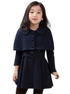 Shop Two Pcs Cape Long Sleeve Solid Girls Dress online at Jollychic,FREE SHIPPING!